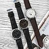 Оригінальні чоловічі наручні годинники шкіряний ремінець Forsining 319 Black-Silver-Black, фото 4
