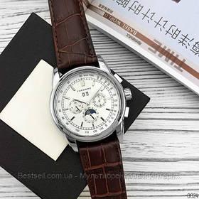 Оригінальні чоловічі наручні годинники шкіряний ремінець Forsining 319 Brown-Silver-White