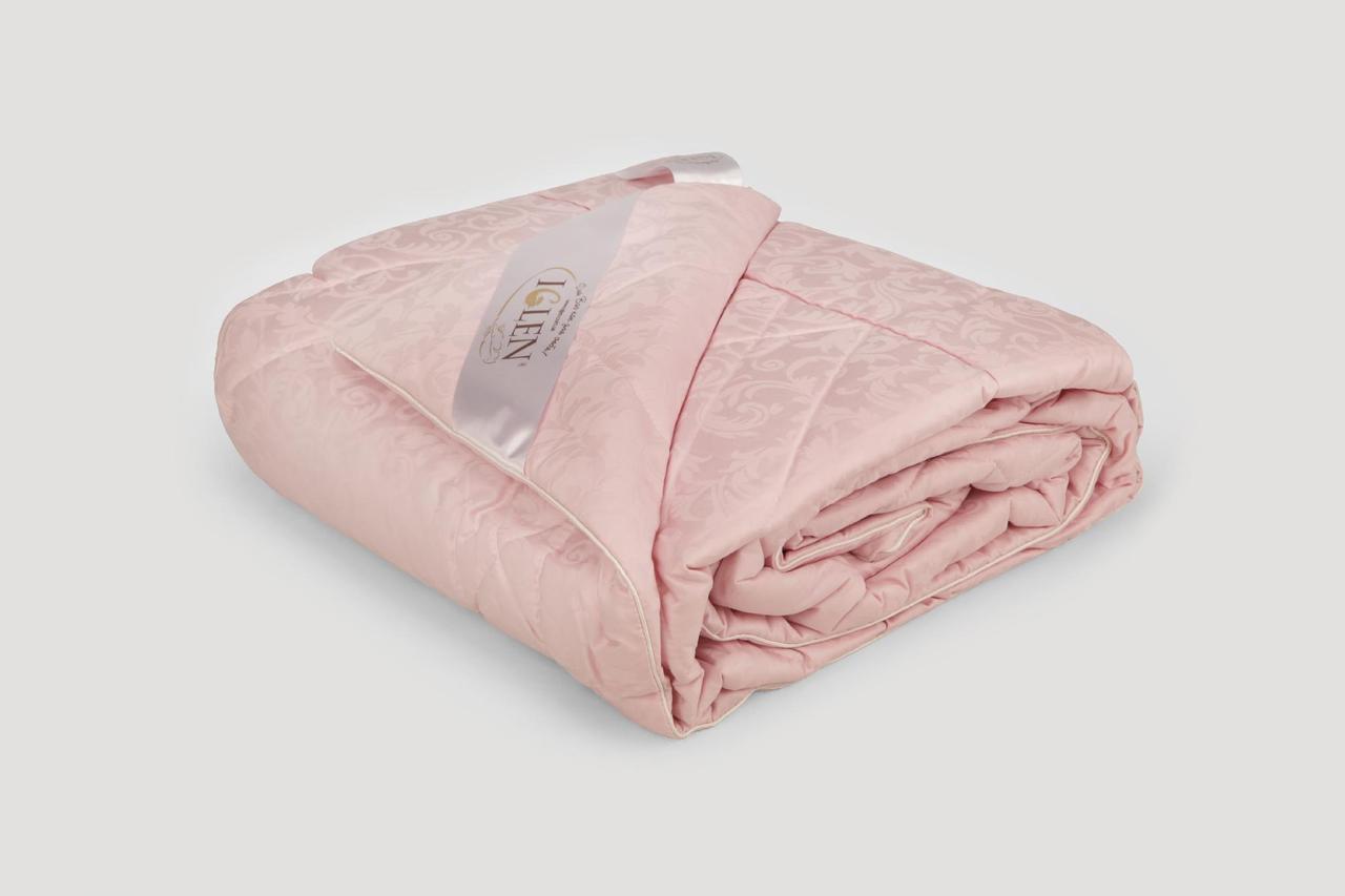 Ковдра IGLEN з овечої вовни в жакардових дамаску Демісезонне 200х220 см Рожевий (20022051PN)