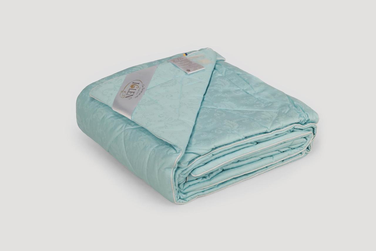 Одеяло IGLEN из овечьей шерсти в жаккардовом дамаске Зимнее 220х240 см Светло-зеленый (2202405GR)