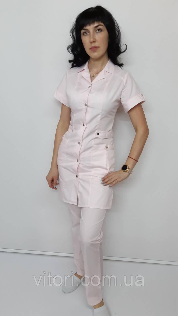 Женский медицинский костюм 2-ка  Хлястик хлопок короткий рукав
