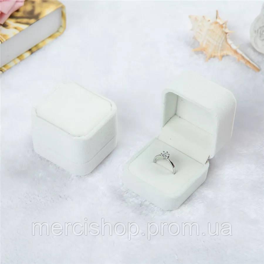 """Подарочная бархатная коробочка """"Шарм"""" для кольца/подвески/серьг и др., цвет: молочный(белый)"""
