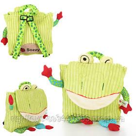 Рюкзак WLTH8051S (50шт) лягушка, 25-21-7см, застежка на липучке, в кульке, 28-32-2см