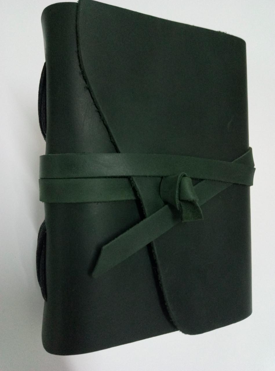 Кожаный блокнот COMFY STRAP В6 темно-зеленый ручная работа