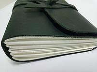 Кожаный блокнот COMFY STRAP В6 темно-зеленый ручная работа, фото 2