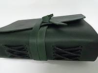 Кожаный блокнот COMFY STRAP В6 темно-зеленый ручная работа, фото 3