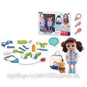 Доктор LB399-4C (12шт) мед.инструменты,очки,мишка,чемодан,кукла31см, в кор-ке,53,5-38,5-12см