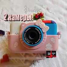 Детский фотоаппарат Хеллоу Китти Children`s fun цифровой 28 Мп 1080FHD Розовый с картой 32 ГБ