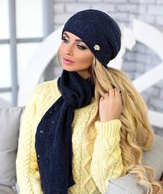Комплект «Мэрис» (шапка + шарф) 4450-11 темно-синий джинс