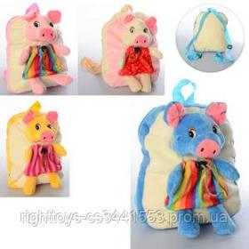 Рюкзак MP 1666 (36шт) свинка,23-20-8см,размер средний,1отд,застеж-молния,мягкий,микс видов