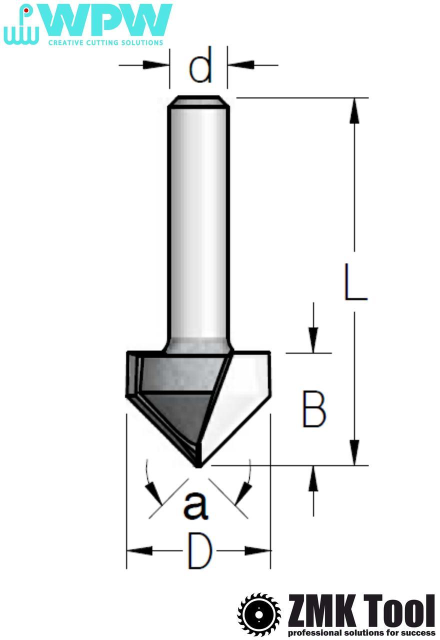 Фреза WPW гравировальная α=90 d=12 D=38,1 L=70 B=32