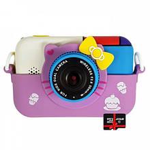 Детский фотоаппарат Хеллоу Китти Children`s fun цифровой 28 Мп 1080FHD Сиреневый с картой 32 ГБ