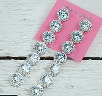 Серьги бижутерия в серебре с алмазиками