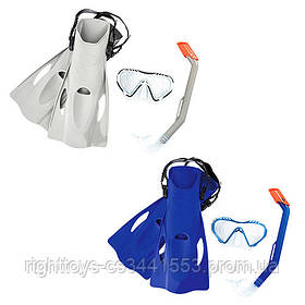 BW Набор для плавания 25025 (6шт) маска, трубка, ласты, 2цвета,