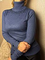 Водолазка женская с отворотом и стразами джинс, фото 1
