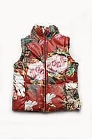 Куртка-жилетка демисезонная для девочки, утепленная жилетка для девочки  (бордо)