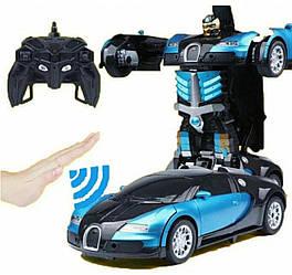 Машинка-робот-трансформер на радіокеруванні Bugatti Car Robot Size 1:18