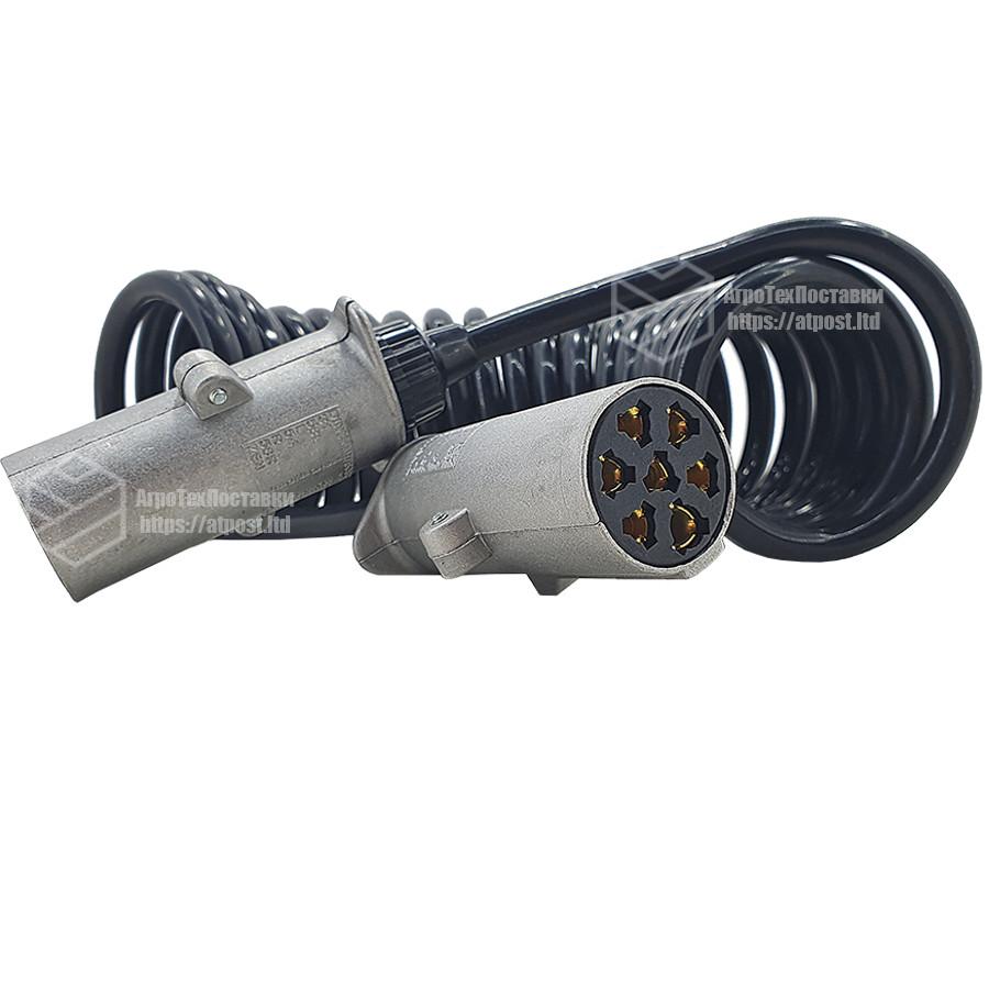 Кабель електричний поліуретановий спіральний 7 метрів + (2 вилки на 7 виходів) (N - тип)