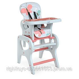 Стульчик M 0816 Butterfly (1шт) для кормления, трансформер (со столиком), бабочки, розовый
