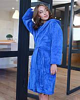 Халат женский махровый короткий (халат банный женский) голубой S,M,L,XL