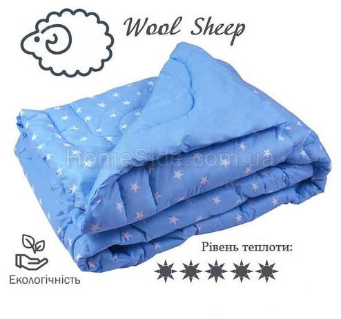 Одеяло зимнее особо теплое шерстяное 200x220 евро Бязь 450г/м.кв (322.02ШУ_Blue), фото 2
