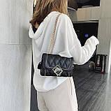 Женская классическая сумочка MIRROW-1 на толстой цепочке три отдела черная, фото 4