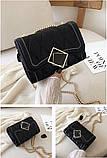 Женская классическая сумочка MIRROW-1 на толстой цепочке три отдела черная, фото 2
