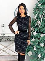 Женское нарядное платье с сеточкой черный, красный, бежевый 42-44, 46-48