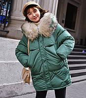 Женское пальто пуховик модные оверсайз куртки зима с капюшоном, цвет зеленый, размер