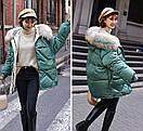 Женское пальто пуховик модные оверсайз куртки зима с капюшоном, цвет зеленый, размер, фото 2