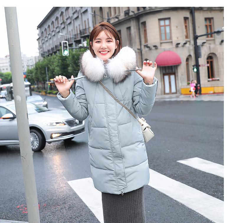 Женское пальто пуховик модные куртки зима с капюшоном, цвет серо-голубой, размер