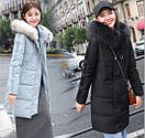Женское пальто пуховик модные куртки зима с капюшоном, цвет серо-голубой, размер, фото 2