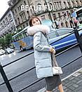 Женское пальто пуховик модные куртки зима с капюшоном, цвет серо-голубой, размер, фото 5