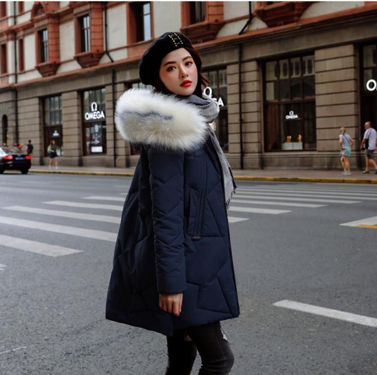 Женское пальто пуховик модные куртки зима с капюшоном, цвет синий, размер