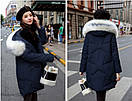 Женское пальто пуховик модные куртки зима с капюшоном, цвет синий, размер, фото 2