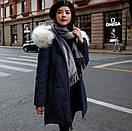Женское пальто пуховик модные куртки зима с капюшоном, цвет синий, размер, фото 3