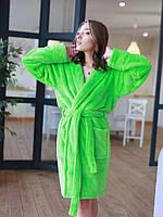 Халат женский махровый короткий (халат банный женский) зеленый Турция