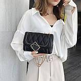 Женская классическая сумочка MIRROW-2 на толстой цепочке три отдела черная, фото 5