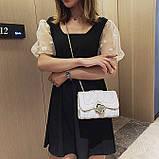 Женская классическая сумочка MIRROW-2 на толстой цепочке три отдела черная, фото 10