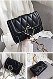 Женская классическая сумочка MIRROW-2 на толстой цепочке три отдела черная, фото 2