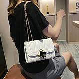 Женская классическая сумочка MIRROW-2 на толстой цепочке три отдела белая, фото 7