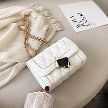 Женская классическая сумочка MIRROW-2 на толстой цепочке три отдела белая