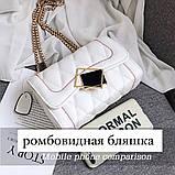 Женская классическая сумочка MIRROW-2 на толстой цепочке три отдела белая, фото 4