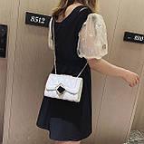 Женская классическая сумочка MIRROW-1 на толстой цепочке три отдела белая, фото 6