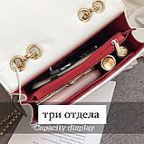 Женская классическая сумочка MIRROW-1 на толстой цепочке три отдела белая, фото 3