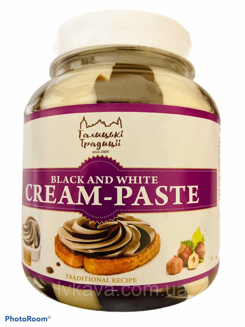 Шоколадно - ореховая черно-белая паста Галицькі традиції, 500 гр