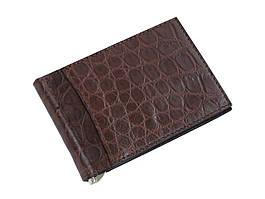 Затиск для грошей з шкіри крокодила Ekzotic Leather Коричневий (cc02)
