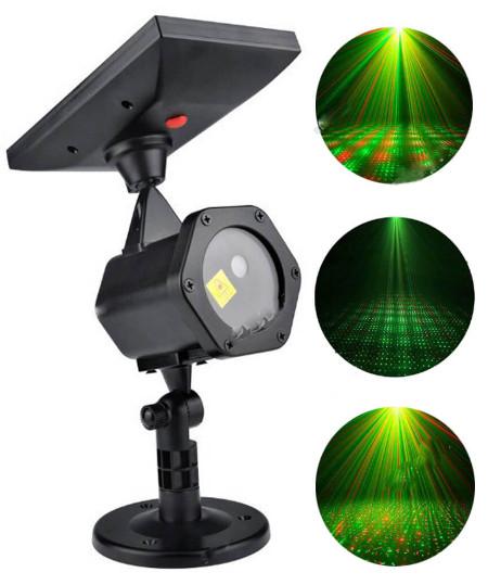 Новогодний светодиодный уличный проектор Сияние 417 + пульт, на солнечной батарее, красно-зеленый