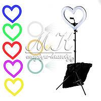 Кольцевая лампа для макияжа на штативе в форме сердца (радужная)