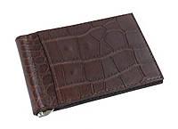 Затиск для грошей з шкіри крокодила Ekzotic Leather Коричневий (cc02), фото 1